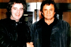 Tommy Truesdale and Johnny Cash in Belfast, 1986