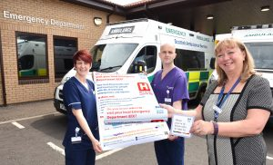 Left to right: Senior Charge Nurse Sharon Deans, Clinical Director of Emergency Medicine Dr Alan Krichell and Clinical Nurse Manager Caroline Dickson launch the new Emergency Department Campaign at University Hospital Ayr.
