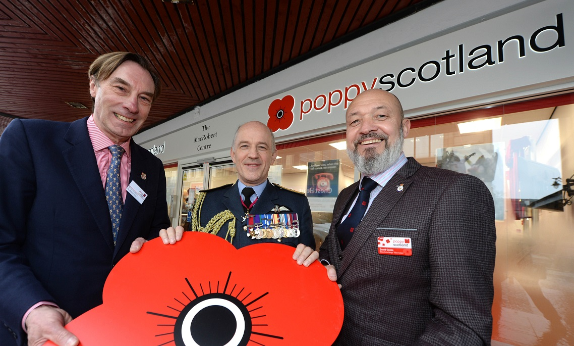 John Strickland (Chairman Elect, MacRobert Trust), Air Marshal Atha, David Cooke (Poppyscotland Ayrshire Welfare Centre Manager)