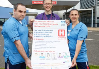 Left to right: Deputy Charge Nurse David Thomson, Clinical Director of Emergency Medicine Dr Morten Draegebo and Staff Nurse Marianna Paterson launch the new Emergency Department Campaign at University Hospital Crosshouse.