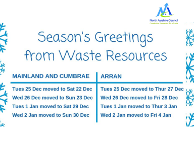 North Ayrshire Christmas Bin Collections 2018