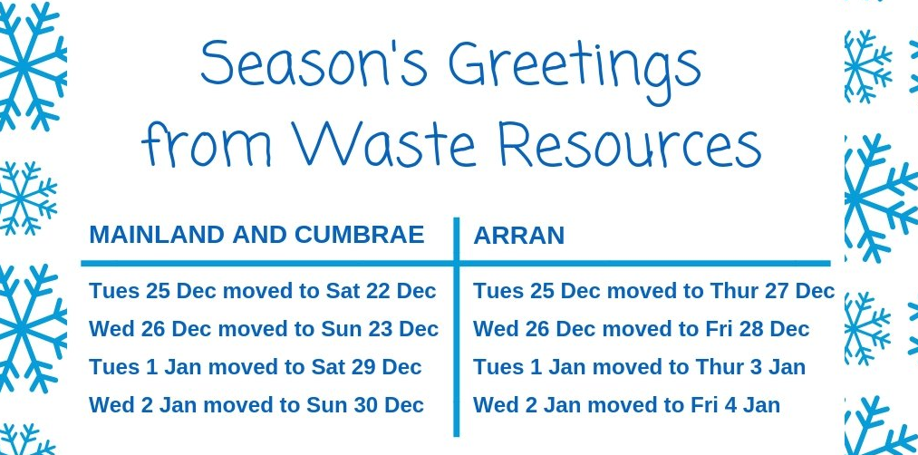 North Ayrshire Bin Collections Christmas 2018