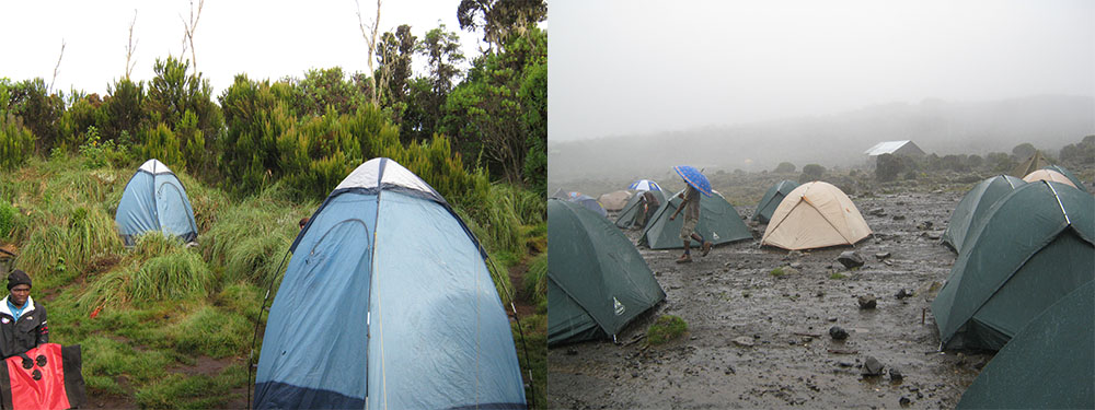 Kilimanjaro Typical Accommodation in the rain and the toilet tents